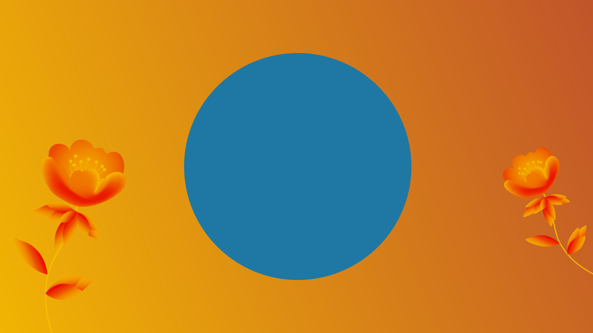 Website development, inner circle of digital marketing, turquoise circle on yellow background with sprouting orange flowers.