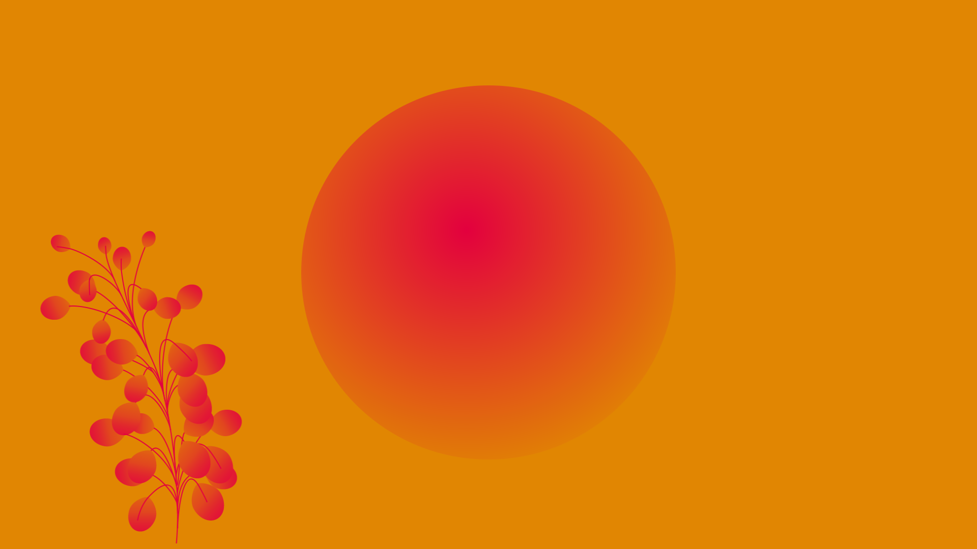 Brochures, inner circle of creative marketing, red circle on orange background with sprouting red plant.
