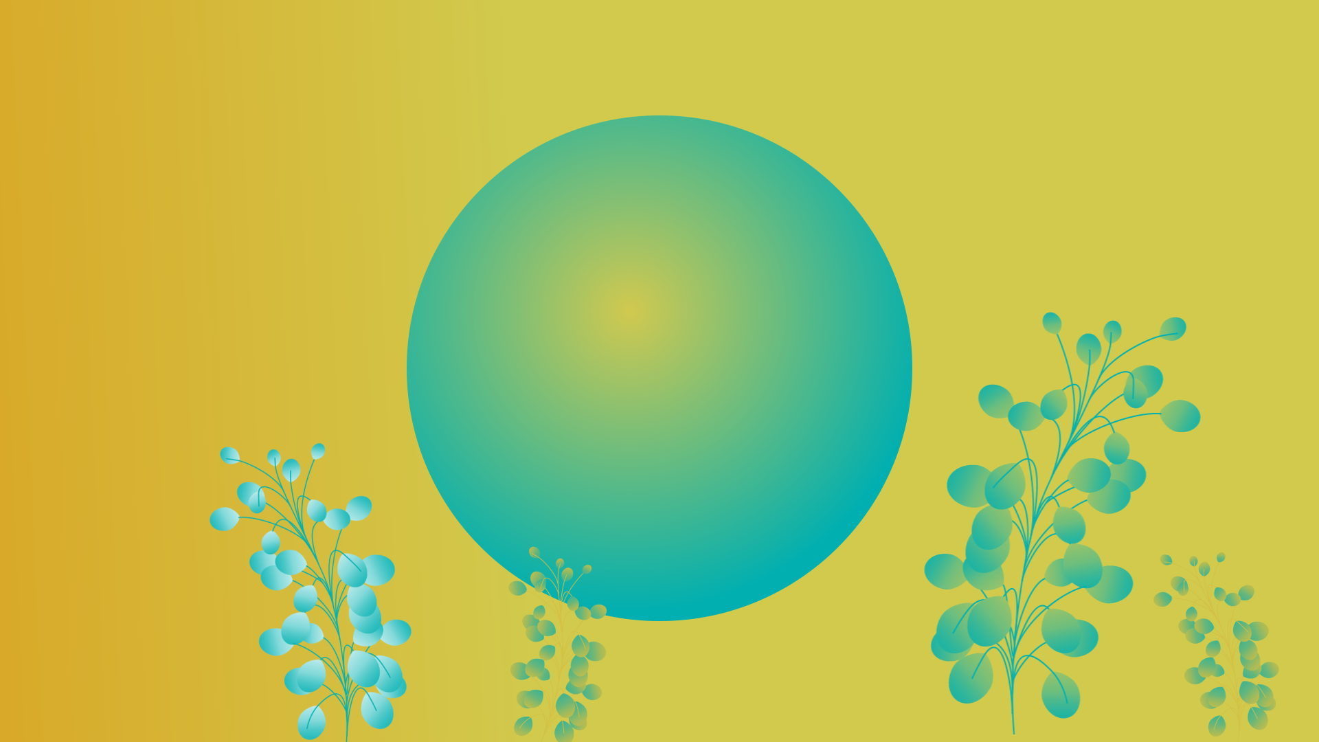 Blogging, inner circle of creative marketing, green circle on yellow background with growing green plants.