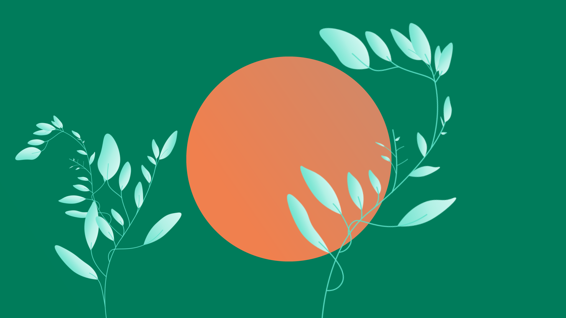 Project management, inner circle of growth hacking, orange circle on green background with sprouting green leafy plants.