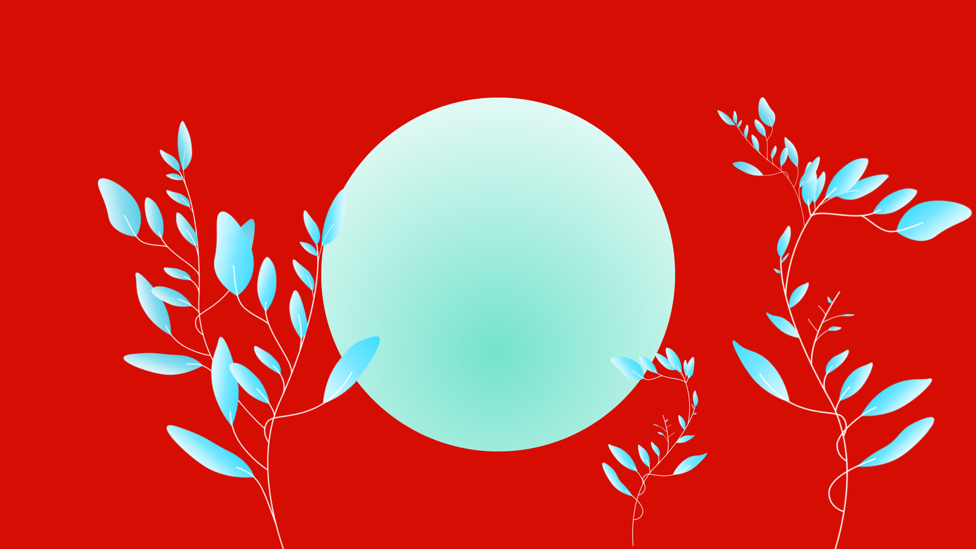 Training, inner circle of growth hacking, green circle on red background with growing blue leafy plants.