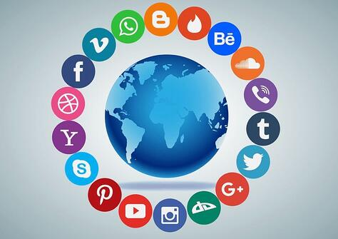 Image of the world surrounded by social media apps