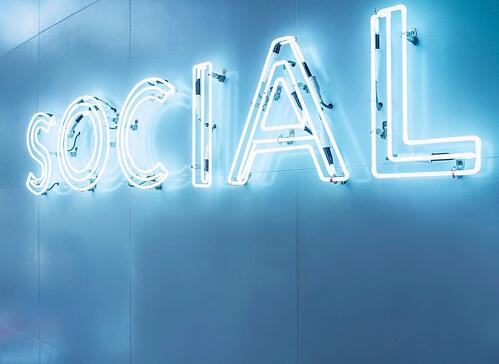 social spelled out across the wall