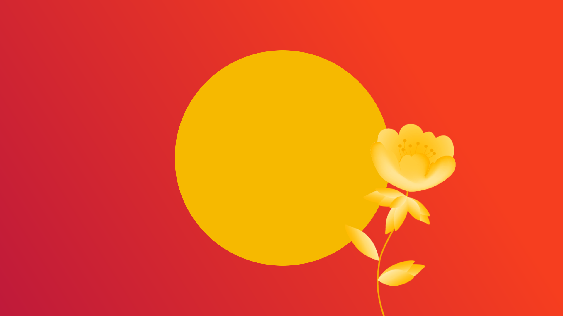 Affiliate marketing, inner circle of Digital Marketing, yellow circle on red background with sprouting yellow flower.