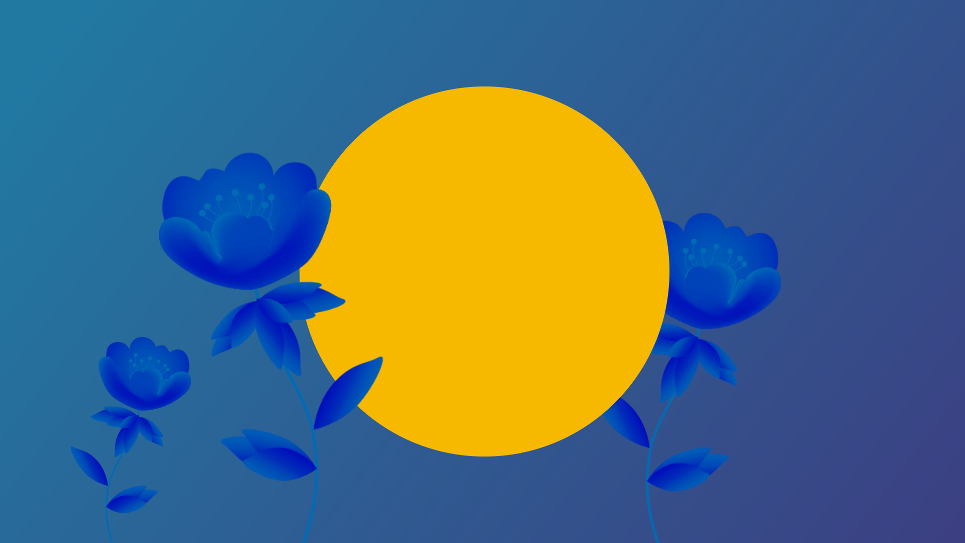 Lead nurturing, inner circle of digital marketing, yellow circle on blue background with growing blue flowers.