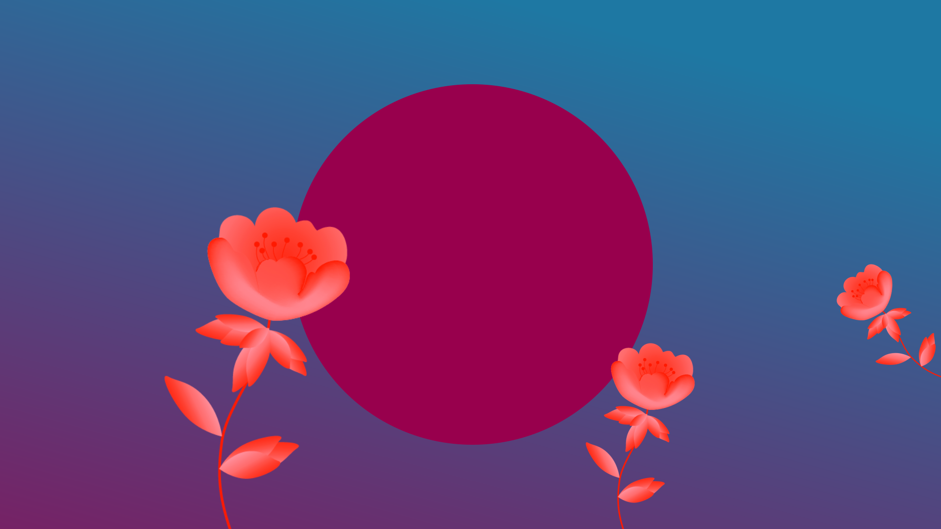 Persona marketing, inner circle of digital marketing, purple circle on blue background with sprouting red flower.