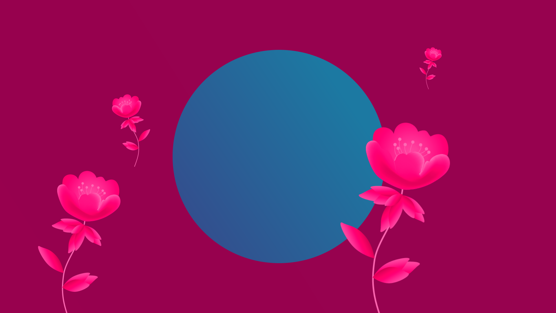 Search engine marketing, inner circle of digital marketing, blue circle on purple background with growing pink flowers.