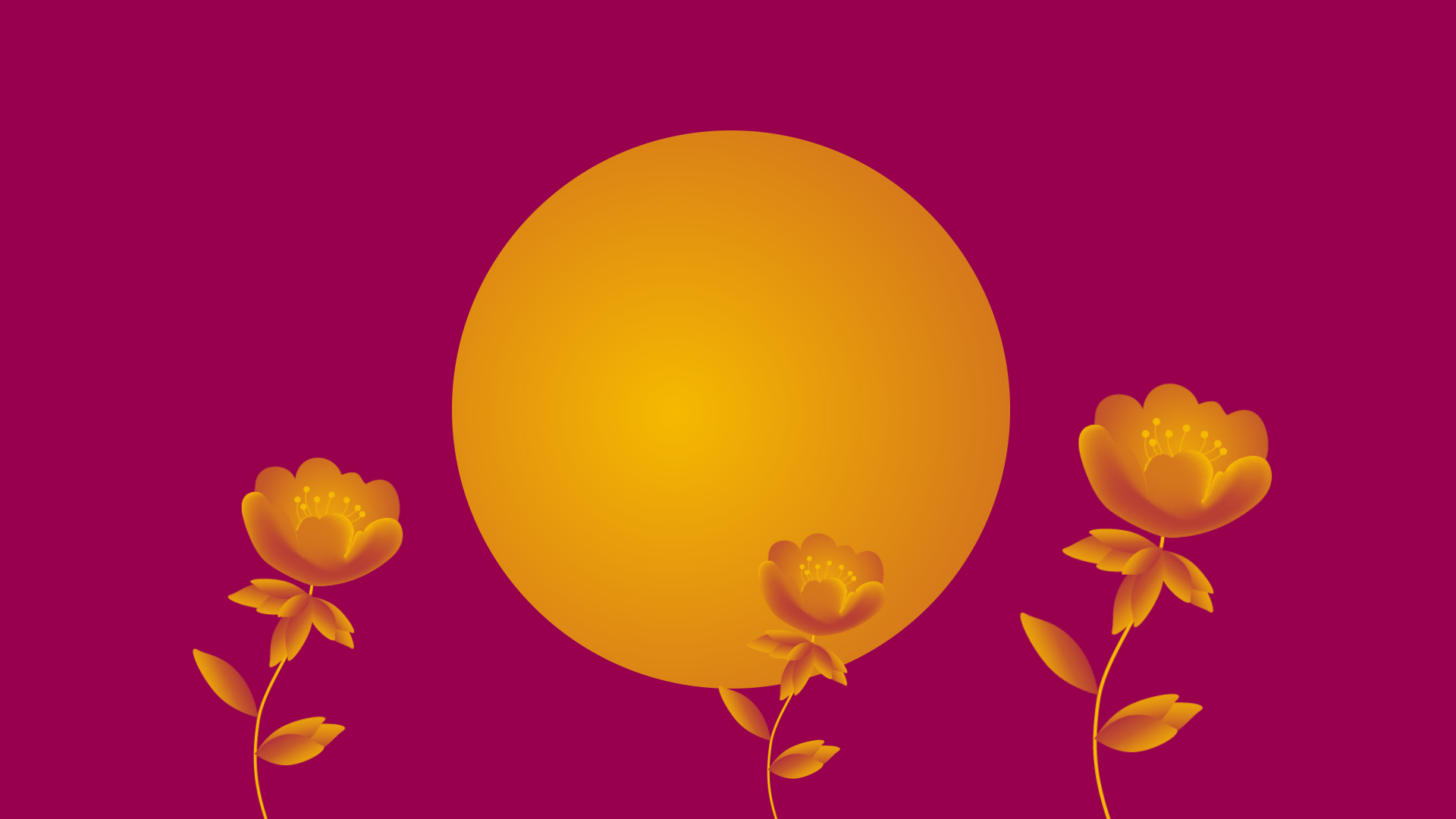 Social advertising, inner circle of digital marketing, yellow circle on pink background with sprouting yellow flowers.