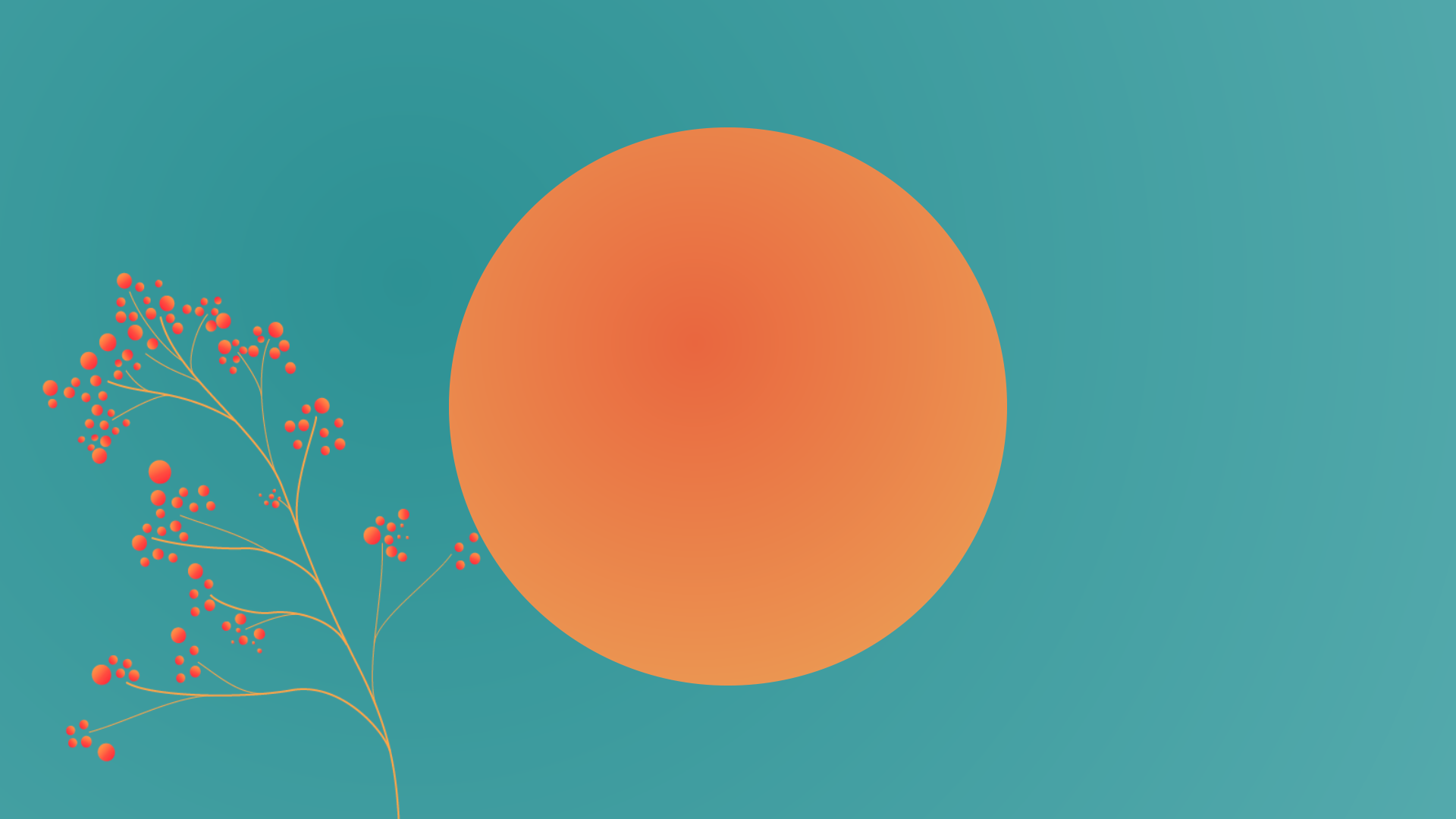 Fulfillment services, inner circle of e-commerce, orange circle on green background with growing orange plant.