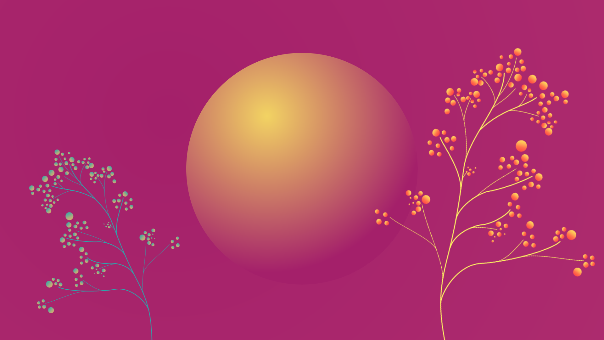 Packaging, inner circle of e-commerce, yellow circle on purple background with growing purple and orange plants.