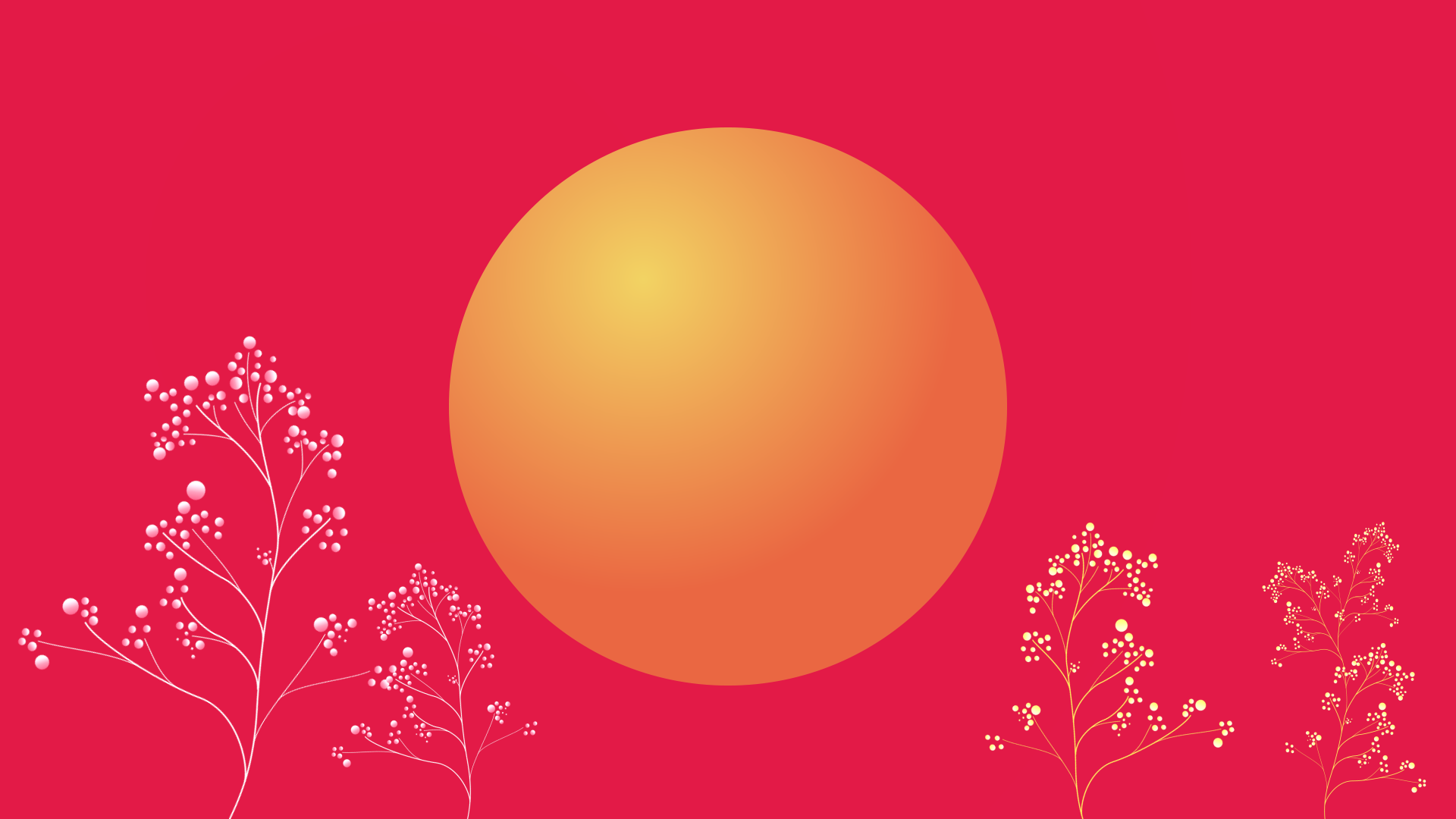 Customer experience, inner circle of e-commerce, yellow circle on red background with growing purple and yellow plants.